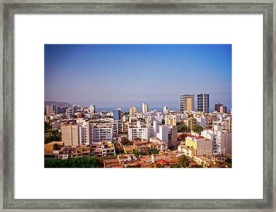 Framed Print featuring the photograph Looking Towards The Sea - Miraflores by Mary Machare