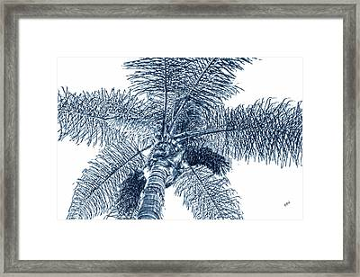 Framed Print featuring the photograph Looking Up At Palm Tree Blue by Ben and Raisa Gertsberg