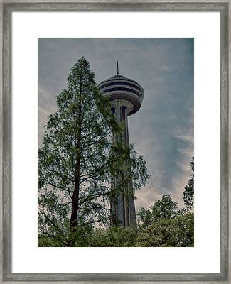 Looking Up At The Skylon Framed Print by Leslie Montgomery