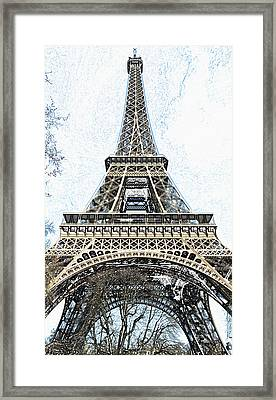 Looking Up At The Sunlit Face Of The Eiffel Tower In Paris France Colored Pencil Digital Art Framed Print