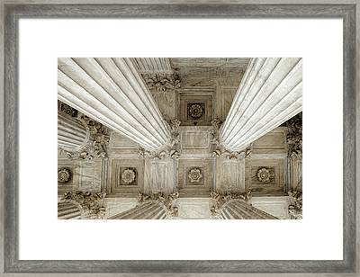 Looking Up At The Supreme Court Framed Print by Andrew Soundarajan