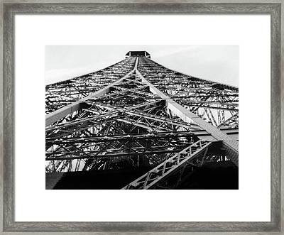 Looking Up From The Eiffel Tower Framed Print by Darlene Berger