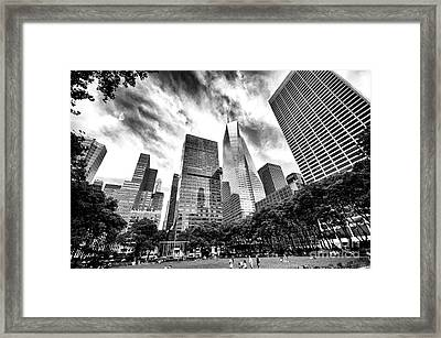 Framed Print featuring the photograph Looking Up In Bryant Park by John Rizzuto