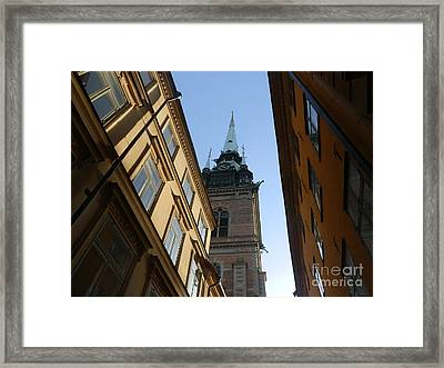 Looking Up From A Stockholm Street Framed Print