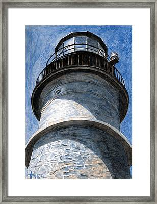 Looking Up Portland Head Light Framed Print by Dominic White