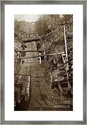Looking Up The Carbonado Incline Railway, Washington State 1903 Framed Print
