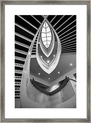 looking up the MCA stairs Framed Print