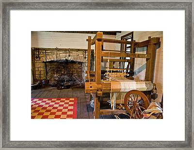 Loom And Fireplace In Settlers Cabin Framed Print by Douglas Barnett