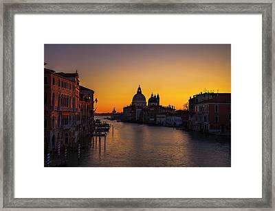 Looming Sunrise Over The Grand Canal Framed Print by Andrew Soundarajan