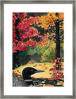 Loon In Water Garden Framed Print
