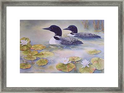 Loons In The Lilies Framed Print by Cherry Woodbury