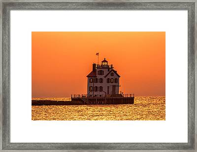 Lorain Lighthouse At Sunset Framed Print by Teresa Jack