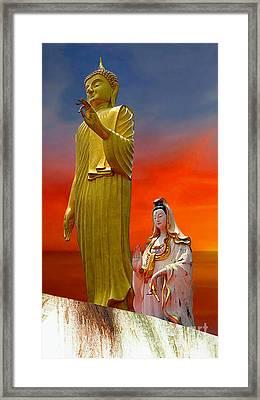 Lord Buddha And Quan Yin Framed Print
