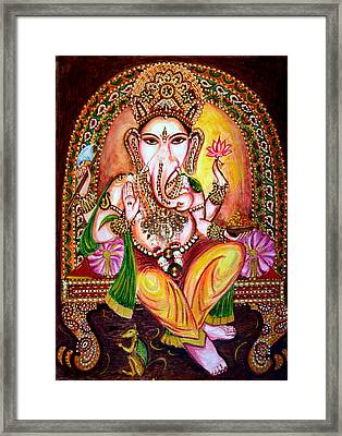 Framed Print featuring the painting Lord Ganesha by Harsh Malik