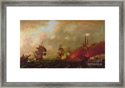 Lord Howe And The Comte Destaing Off Rhode Island Framed Print by Robert Wilkins