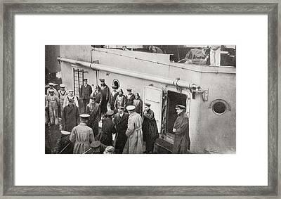 Lord Kitchener Boarding Hms Hampshire Framed Print by Vintage Design Pics