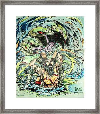 Lord Krishna Framed Print by Tanmay Singh