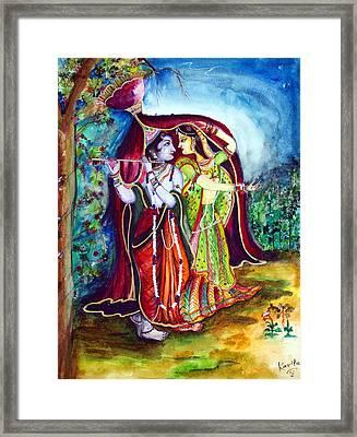 lord radha krishna RAAS LEELA Framed Print by Kavita Sarawgi
