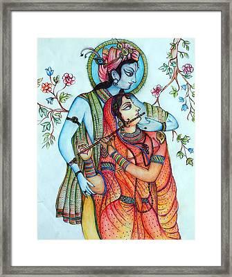 Lord Radha Krishna's Divine Love Framed Print by Kavita Sarawgi