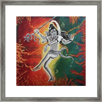 Lord Shiva-the Cosmic Dance Framed Print by Tamanna  Sagar