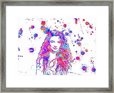 Lorde Colorful Paint Splatter Framed Print by Dan Sproul