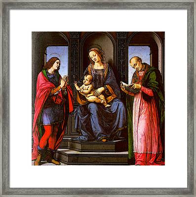 Lorenzo Di Credi The Virgin And Child With St Julian And St Nicholas Of Myra Framed Print by Lorenzo di Credi