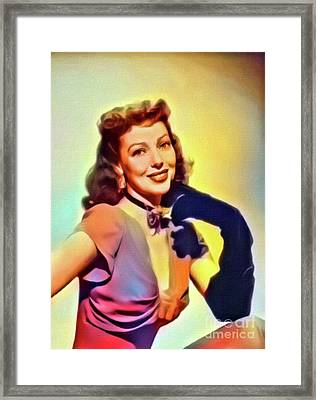 Loretta Young, Vintage Actress. Digital Art By Mb Framed Print