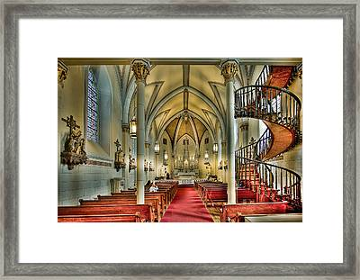 Framed Print featuring the photograph Loretto Chapel Altar by Anna Rumiantseva