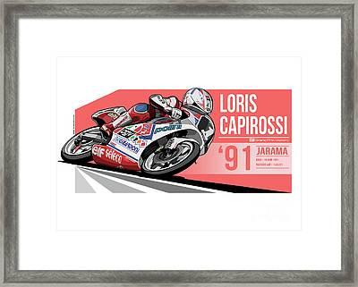 Loris Capirossi - 1991 Jarama Framed Print by Evan DeCiren