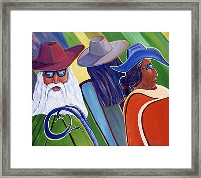 Los Abuelos Bailando Jazz Framed Print by George Chacon