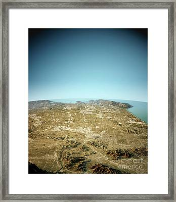 Los Angeles 3d View North-south Natural Color Framed Print by Frank Ramspott