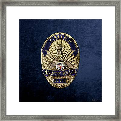 Los Angeles Airport Police Division - L A X P D  Chief Badge Over Blue Velvet Framed Print by Serge Averbukh