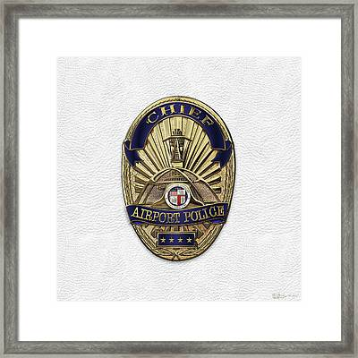 Los Angeles Airport Police Division - L A X P D  Chief Badge Over White Leather Framed Print by Serge Averbukh