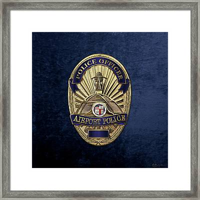 Los Angeles Airport Police Division - L A X P D  Police Officer Badge Over Blue Velvet Framed Print by Serge Averbukh