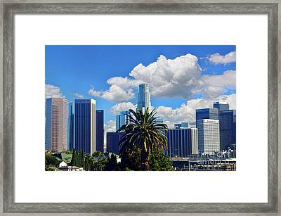 Los Angeles And Palm Trees Framed Print