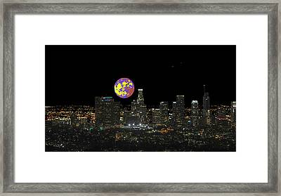 Los Angeles And The Super Alien Moon Framed Print