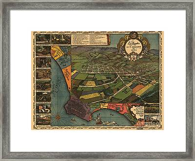 Los Angeles As It Appeared In 1871 Framed Print by Baltzgar