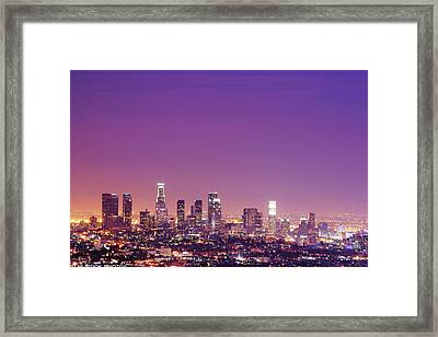 Los Angeles At Dusk Framed Print by Dj Murdok Photos