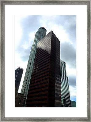 Los Angeles Bank Buildings Framed Print by Nancy Merkle