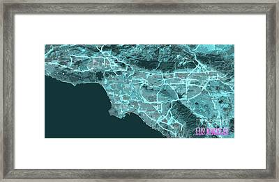 Los Angeles, California, Antique Map, Blue Abstract Map Framed Print