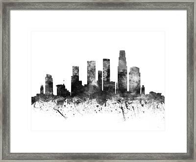 Los Angeles California Cityscape 02bw Framed Print by Aged Pixel