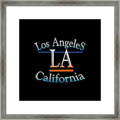 Los Angeles California Tshirt Design Framed Print by Art America Gallery Peter Potter
