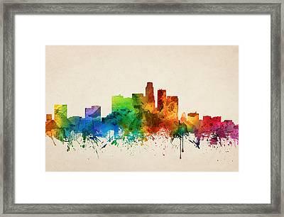 Los Angeles California Skyline 05 Framed Print