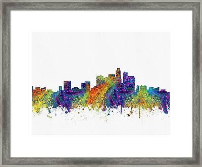 Los Angeles California Skyline Color03 Framed Print