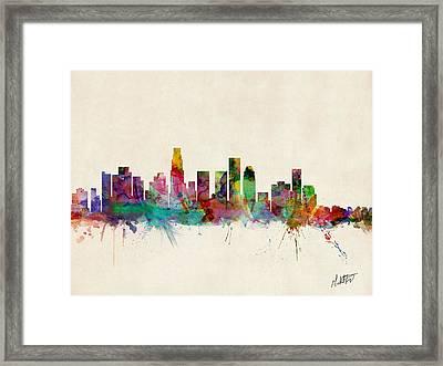 Los Angeles California Skyline Signed Framed Print by Michael Tompsett
