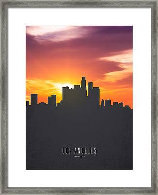 Los Angeles California Sunset Skyline 01 Framed Print