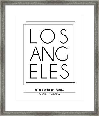 Los Angeles City Print With Coordinates Framed Print