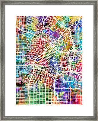 Los Angeles City Street Map Framed Print