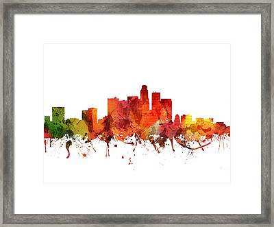 Los Angeles Cityscape 04 Framed Print by Aged Pixel