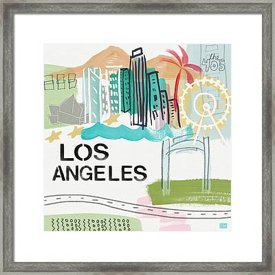 Los Angeles Cityscape- Art By Linda Woods Framed Print by Linda Woods